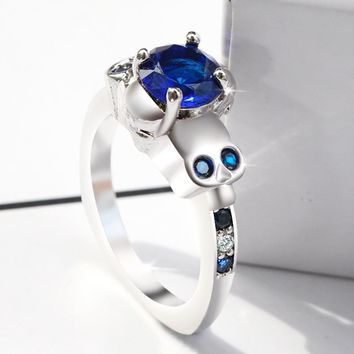 ERLUER Gothic Skull Ring Austrian And European Blue Crystal Zircon Silver plated Wedding Rings For Women Fashion Punk Jewelry