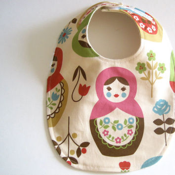 matryoshkas BABY BIB - modern baby cream pink and brown nesting dolls with organic cotton flannel