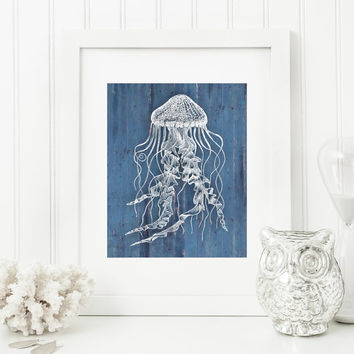 Jellyfish Art Print, Rustic Art, Nautical Art, Blue Rustic Wood 'Look' 5x7, 8X10, 11x14 Jelly Fish, Beach Decor, Nautical Wall Art