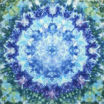 Mandala tie dye tapestry wall hanging blue purple green