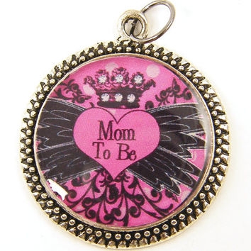 Mom to Be Jewelry, Expecting Mom Pendant, Pregnancy Jewelry Charm, Pink Black White Silver