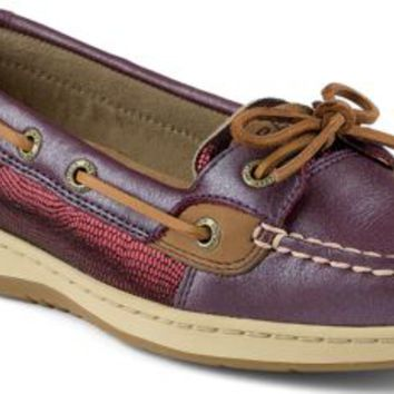 Sperry Top-Sider Angelfish Metallic Slip-On Boat Shoe Wine, Size 8.5M  Women's Shoes