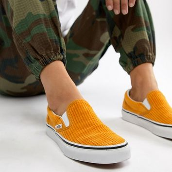 Vans Yellow Corduroy Classic Slip-On Sneakers at asos.com