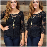 Panama Black Sheer Lace Crochet Top