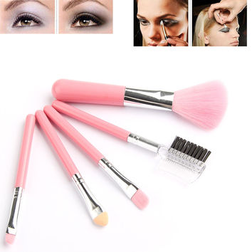 Fashion Mini 5Pcs Pink Makeup Brushes Cosmetics Tools Eyeshadow Eye & Face Lipstick Makeup Brush Set Blush Soft Brushes Kit New