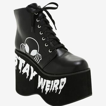 Stay Weird Alien Platform Booties