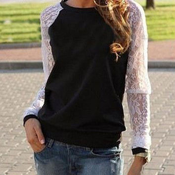 Long Sleeve Lace Embroidered T-Shirt
