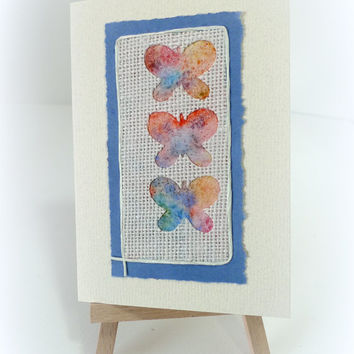 Butterflies Rustic Handmade blank card Watercolour Best Friend Get Well Birthday Mothers Day Thank you Good Luck Congratulations Spring card