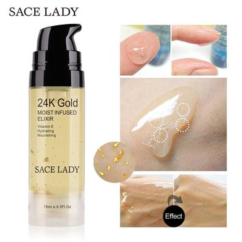SACE LADY 24k Gold Elixir Ultra Moisturizing Face Essential Oil Makeup Foundation Base Primer Anti-aging Make Up Brand Cosmetic
