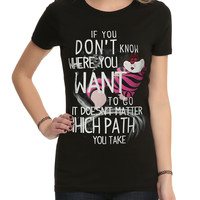 Disney Alice In Wonderland Cheshire Cat Path Girls T-Shirt