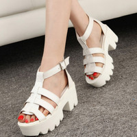 New Summer Lady Strappy Platform Block Heel Chunky Pure Buckle Leather Peep Toe Ankle High Sandals Women Gladiator Shoes