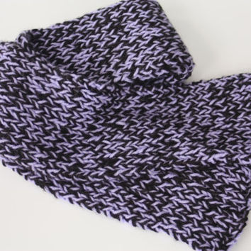 Purple and Black Knit Scarf - Long Scarf - Soft Scarf - Brioche Knit Scarf - Neck Warmer - Black & Purple Scarf - Chunky Scarf - Chunky Knit