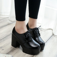 Heels shoes with no shoes round tide thick waterproof lace work shoes tide