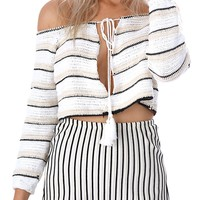 Polychrome Stripe Off Shoulder Tie Detail Cropped Knit Jumper