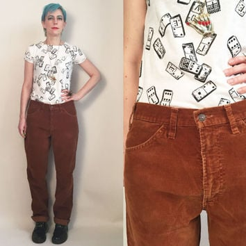 "70s Clothes / Vintage 1970's Corduroy Levi's Pants Rust Brown Pants Levi's Corduroy Men's Size 34"" waist"