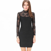 Lace Funnel Collar Long Sleeve Back Cut-Out Bodycon Mini Dress