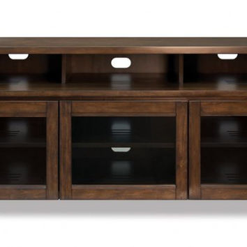 Cocoa Finish Wood Home Entertainment Cabinet can accommodate most flat panel TVs up to 70-in (or up to 175 lbs.)