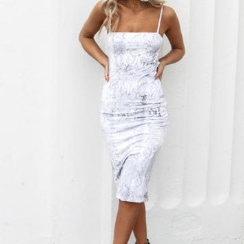 For The Attention Snakeskin Maxi Dress