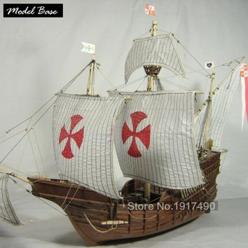 Wooden Ship Model Kits Train Hobby Model-Wood-Boats 3d Laser Cut Scale 1/50 Model-Ship-Assembly Diy Educational Santa Maria1492