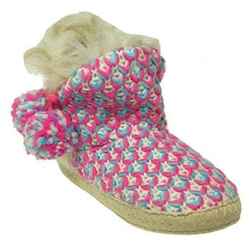 Jenni Women's Knit Bootie Slippers Grey- Fuschia Size X-Large 11-12