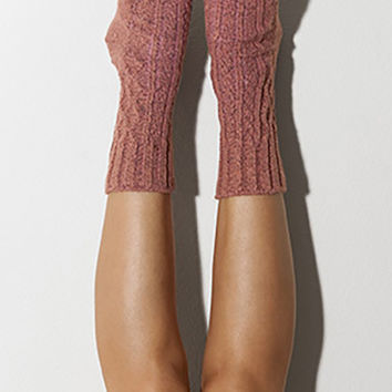 Marsala Marled Cable Knit Crew Socks