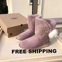 [FREE SHIPPING] Australia UGG Women's Dusk Shoes Boot Irina Swarovski ® Pin Pom Limited Edition Snoot Boots 1017502