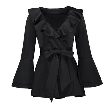 Gothic Casual Blouse Ruffles Patchwork Flare Sleeve Black Shirts Tops Goth Blouse