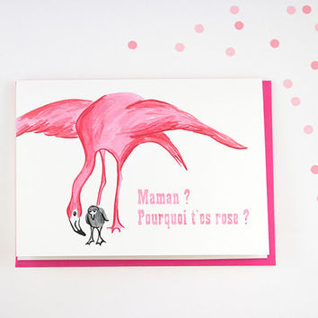 Mothers day card, Pink Flamingo card for new mother or new baby