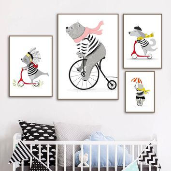Cartoon Bear Dog Bike Feather Wall Art Canvas Painting Nordic Posters And Prints Scandinavian Wall Pictures Baby Kids Room Decor