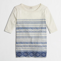 Factory printed embroidered stripe top - short sleeve - FactoryWomen's Knits & Tees - J.Crew Factory