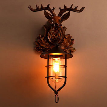 Retro industrial loft style living room wall lamp Bar Cafe bedroom wall lamp decorative lamps creative personality deer