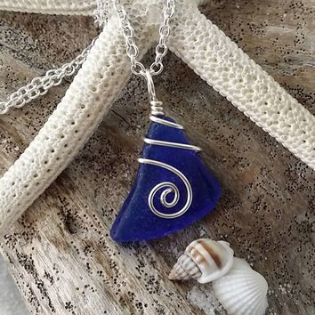 Handmade in Hawaii, Genuine surf tumbled cobalt blue sea  glass.Beach glass necklace. wire wrapped sea glass necklace jewelry.