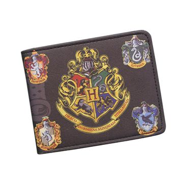 Harry Potter Wallets With Small Zipper Pocket Men Wallet Coin Bag Credit Card Holder Hogwarts Badge Designer Wallet For Student