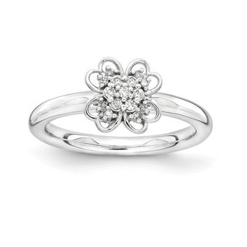 Sterling Silver & 14k Gold YG-plated Stackable Expressions Diamond Flower Ring