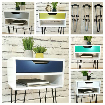 Bedside Table, Modern End Table, Nightstand, With Hairpin Legs, Mid-Century Modern, Side Table
