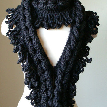 Braided Scarf / Charcoal Scarf / Knit Accessories by MODAcrochet