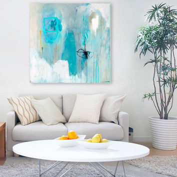 "GICLEE PRINT of Abstract Painting and Fine Art Print, Wall Art, aqua, grey, white, from original abstract painting ""Sempre"""