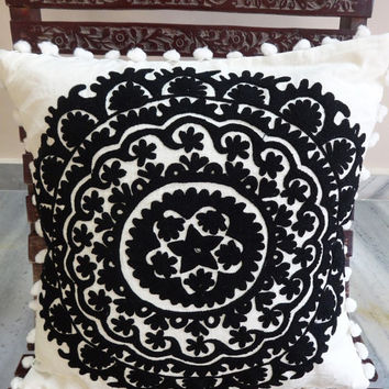 Traditional Suzani Embroidered Cushion Cover, Designer Bohemian Cotton Cushion With Pom Pom Lace, Black & White Color Theme, Room Decor