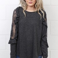 Lace Mesh + Ruffled Long Sleeve Top {Charcoal}