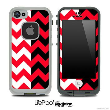 Two Toned Chevron Pattern Red Skin for the iPhone 5 or 4/4s LifeProof Case