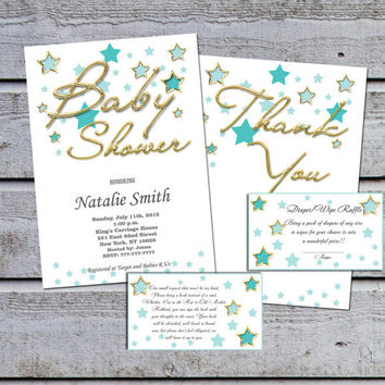 Gold Star Neutral Boy Girl Baby Shower Invitations Gender Neutral Baby Shower Invites for Boy Girl Printable - FREE Thank You card (V10)