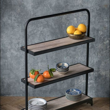 Rustic Wood and Metal Rectangular Riser with Three Shelves - 26-3/4-in