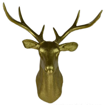 Plastic Deer Head Wall Hanging Decoration golden