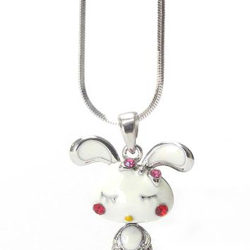 Whitegold Plating Epoxy and Crystal Bunny Pendant Necklace