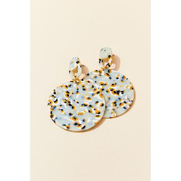 Tortoise Print Circle Earrings