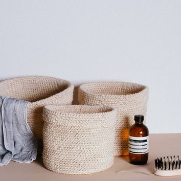 Stackable Woven Baskets (Set of 3) - Nude