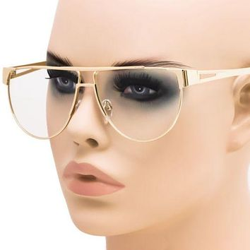 Elite Flat top Clear Lens Vintage Retro Style Aviator Gold Metal Eye Glasses