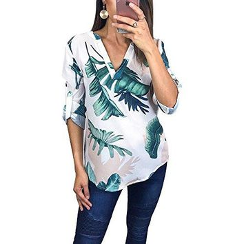 Tkria Womens Summer Shirts V Neck Floral Printed Blouse 34 Roll Sleeves Geometric Pattern Irregular Casual Tunic Tops