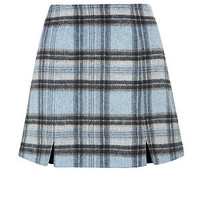 Blue Check Split Front Mini Skirt