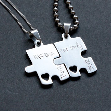 Personalized puzzle couples necklace, His & Hers jewelry, hand stamped valentines couples necklace, couples puzzle, heart, Valentine's Day